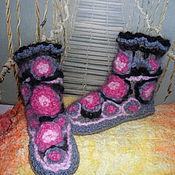 """Обувь ручной работы. Ярмарка Мастеров - ручная работа """"Розовые пионы""""домашние вязаные сапожки. Handmade."""