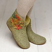 """Обувь ручной работы. Ярмарка Мастеров - ручная работа Валяные чуни """"Золотая осень"""" зеленые. Handmade."""