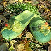 """Обувь ручной работы. Ярмарка Мастеров - ручная работа Тапочки """"Зеленая фантазия"""". Handmade."""