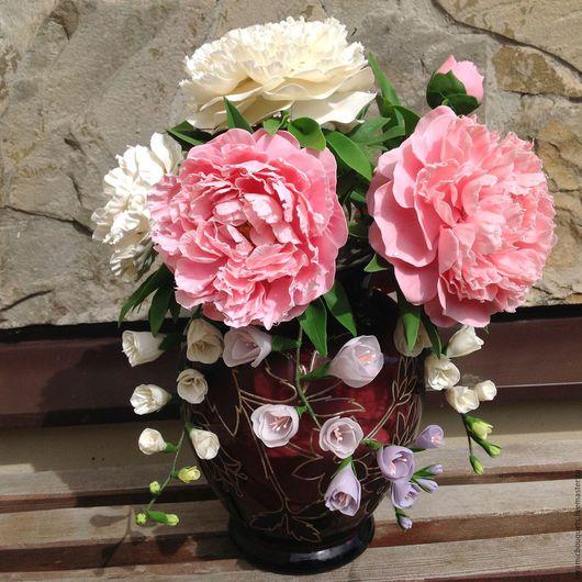 Интерьерные композиции ручной работы. Ярмарка Мастеров - ручная работа. Купить Пионы для мамы. Handmade. Розовый, подарок женщине