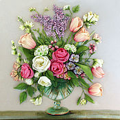 Картины и панно handmade. Livemaster - original item Picture ribbons Spring bouquet. Handmade.