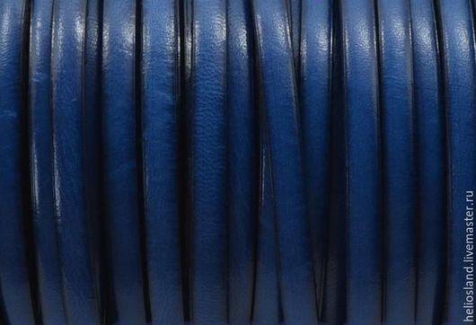 Для украшений ручной работы. Ярмарка Мастеров - ручная работа. Купить Кожаный шнур плоский 5 мм синий. Handmade.