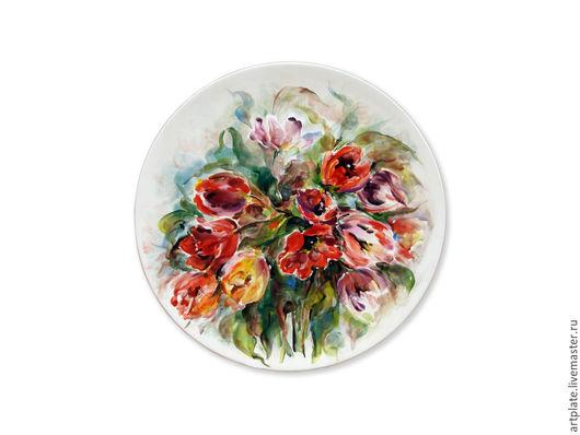 Керамическая тарелка Тюльпаны. Керамика ручной работы. Ярмарка мастеров.