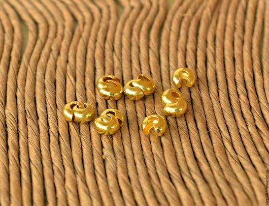 Для украшений ручной работы. Ярмарка Мастеров - ручная работа. Купить 20шт Покрытия кримпов золото 4мм. Handmade.
