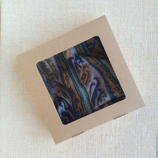 Упаковка ручной работы. Ярмарка Мастеров - ручная работа. Купить Крафт коробка с окошком 20х20х4,5 см. Handmade. Бежевый