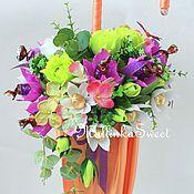 """Цветы и флористика ручной работы. Ярмарка Мастеров - ручная работа Букет из конфет """"Погода в доме""""  зонт из конфет. Handmade."""