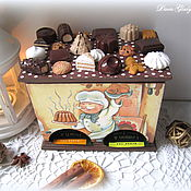 "Куклы и игрушки handmade. Livemaster - original item Double tea house ""Chocolate"" with miniature. Handmade."