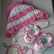 Работы для детей, ручной работы. Ярмарка Мастеров - ручная работа Комплект для новорожденного. Пинетки и чепчик. Handmade.