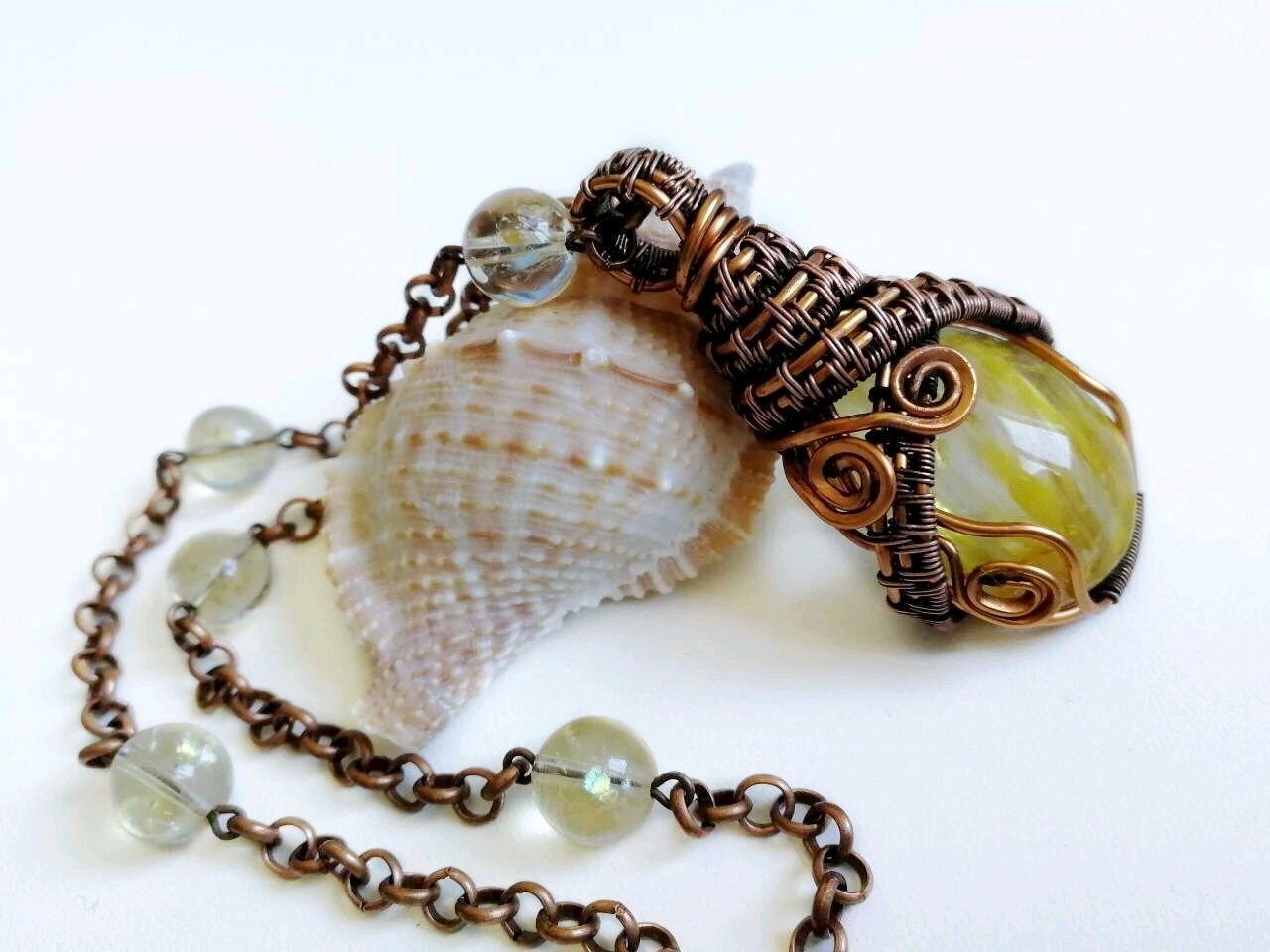 Amulet copper with natural rutile quartz and citrine, Amulet, Tolyatti,  Фото №1