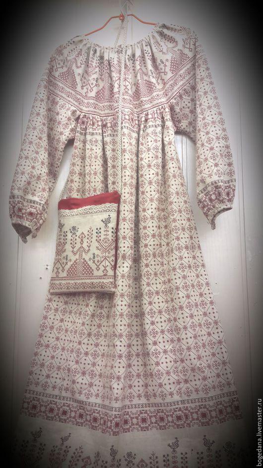 """Одежда ручной работы. Ярмарка Мастеров - ручная работа. Купить Женское платье-рубаха с набивным рисунком """"Макошь""""-1. Handmade."""