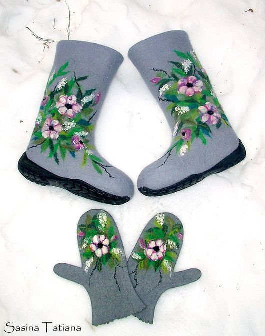"""Обувь ручной работы. Ярмарка Мастеров - ручная работа. Купить Валенки """"Яблоневый цвет"""". Handmade. Валенки"""