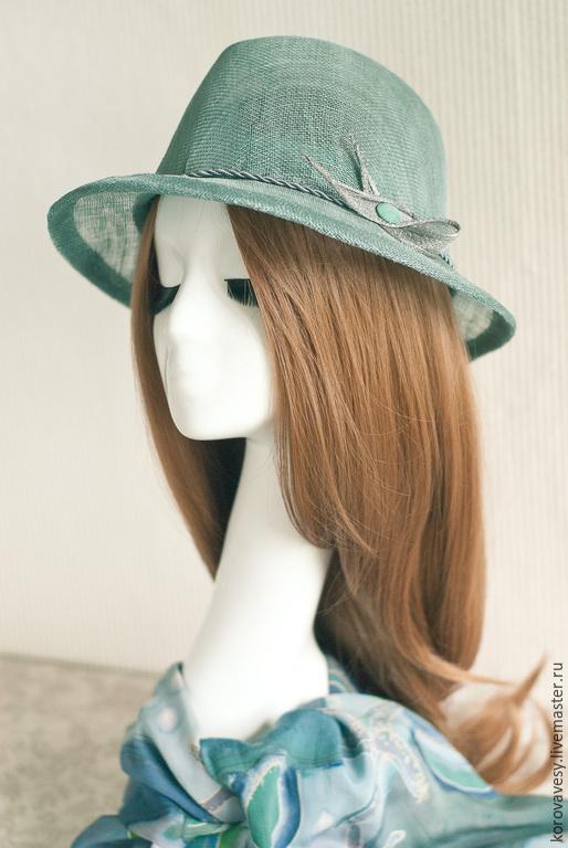 """Шляпы ручной работы. Ярмарка Мастеров - ручная работа. Купить """"Нефритовая волна"""". Handmade. Тёмно-бирюзовый, шляпа из соломки"""
