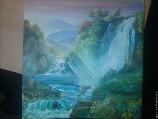 """Пейзаж ручной работы. Ярмарка Мастеров - ручная работа. Купить Картина маслом """"Водопад"""". Handmade. Синий, водопад, масло, картина"""