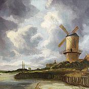 """Картины и панно ручной работы. Ярмарка Мастеров - ручная работа """"Мельница в Вейке"""", голландский пейзаж, масло. Handmade."""