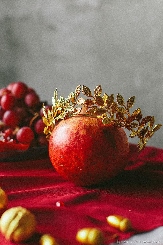 Свадебная корона из золотых листиков, Украшения в прическу, Екатеринбург,  Фото №1