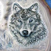 Картины и панно handmade. Livemaster - original item Stone panels amulet with a wolf