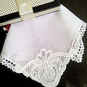 handmade. Livemaster - original item Handkerchief women`s white lace monogram embroidery. Handmade.