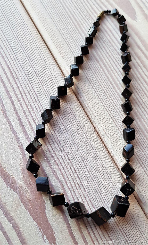 Винтаж: Черный коралл кубики, Колье винтажные, Москва,  Фото №1