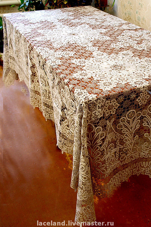 """Текстиль, ковры ручной работы. Ярмарка Мастеров - ручная работа. Купить Скатерть """"Вологодская"""". Handmade. Бежевый, кружево на коклюшках"""