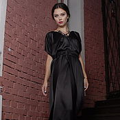 Одежда handmade. Livemaster - original item Evening dress black long satin with V-neck and belt. Handmade.