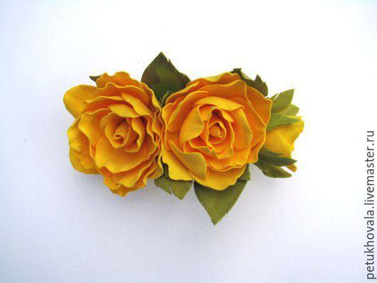 """Заколки ручной работы. Ярмарка Мастеров - ручная работа. Купить Заколка автомат для волос из фоамирана """"Желтые розы с бутоном"""". Handmade."""