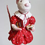 Tree handmade. Livemaster - original item Rat in a red dress-cotton Christmas toy. Handmade.