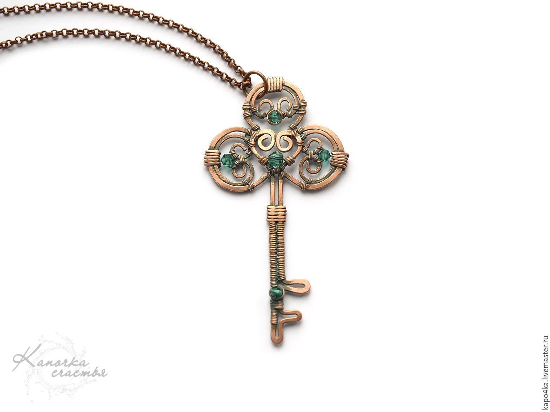 Copper pendant Key Pendant key art wire wrap necklace copper – shop ...