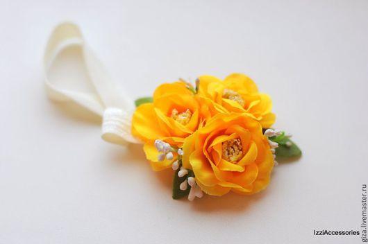 """Диадемы, обручи ручной работы. Ярмарка Мастеров - ручная работа. Купить Повязка на голову для девочки """"Цветочки желтые """". Handmade."""