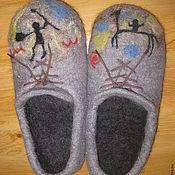 """Обувь ручной работы. Ярмарка Мастеров - ручная работа Тапочки """"Наскальные рисунки"""". Handmade."""