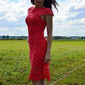 Одежда ручной работы. Ярмарка Мастеров - ручная работа Платье вязаное красное ажурное крючком. Handmade.