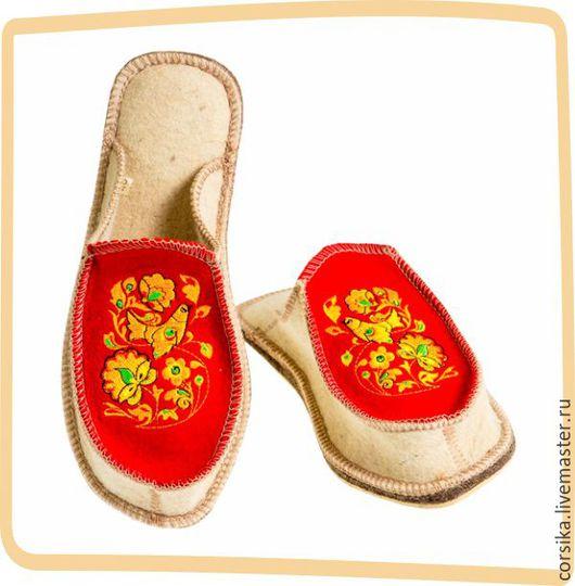 Обувь ручной работы. Ярмарка Мастеров - ручная работа. Купить Тапочки Хохлома. Handmade. Валяные тапочки, войлочные тапочки