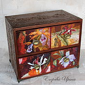 Для дома и интерьера handmade. Livemaster - original item Mini chest of drawers Orchids. Handmade.