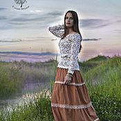 Одежда ручной работы. Ярмарка Мастеров - ручная работа Многослойная юбка бохо Iren, длинная юбка с кружевом. Handmade.