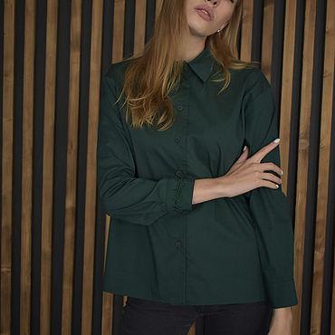 Одежда ручной работы. Ярмарка Мастеров - ручная работа Тёмно-зелёная рубашка с фирменной вышивкой. NewReligion. Handmade.