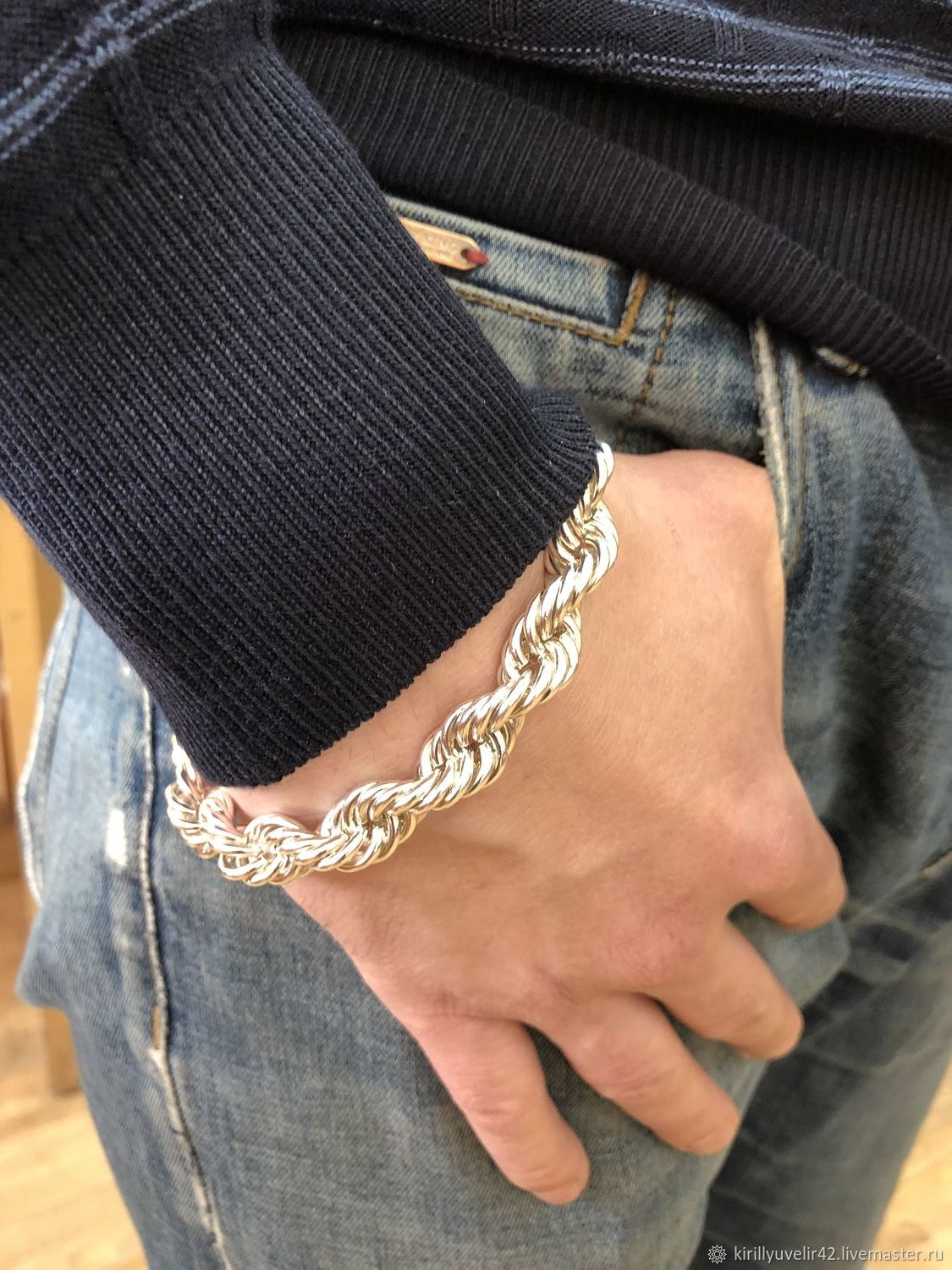 Bracelet weaving 'Rope' with a box of silver, Braided bracelet, Kemerovo,  Фото №1
