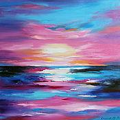 Картины и панно handmade. Livemaster - original item Oil painting Pink sunset, sea, 50/50 cm. Handmade.
