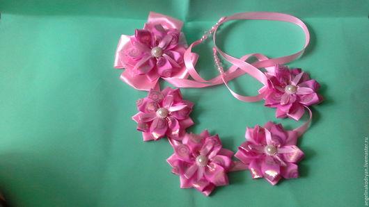 Детская бижутерия ручной работы. Ярмарка Мастеров - ручная работа. Купить Розовая  лента в косу. Handmade. Розовый, лента в прическу