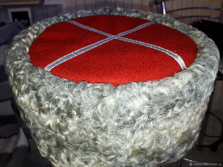 Кубанка из серого каракуля с красным верхом, Шапки, Краснодар,  Фото №1