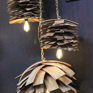 Освещение ручной работы. Ярмарка Мастеров - ручная работа Люстра в виде сосновой шишки из дерева. Handmade.
