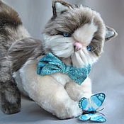 Куклы и игрушки handmade. Livemaster - original item Teddy the cat cornflower. Handmade.
