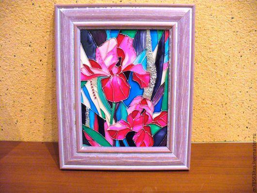 Картины цветов ручной работы. Ярмарка Мастеров - ручная работа. Купить Цветочная фантазия. Handmade. Брусничный, цветы, Витраж, стразы