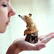 Для дома и интерьера ручной работы. Ярмарка Мастеров - ручная работа Керамический лисик на табуреточке. Handmade.