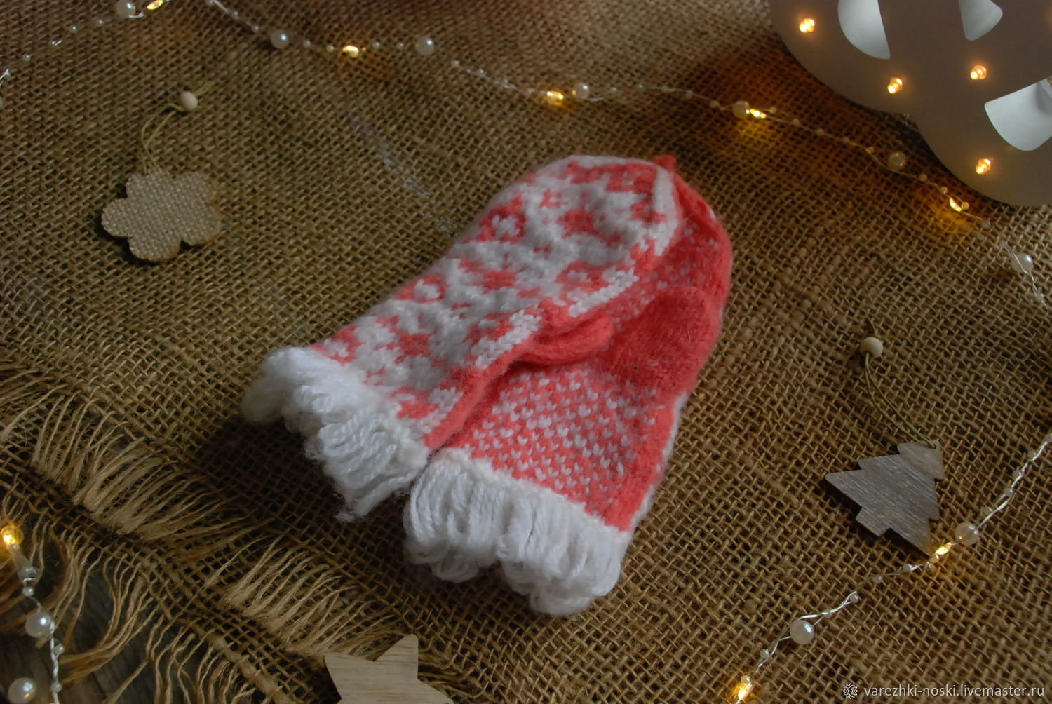 Mittens white with geometric designs and fringe, Mittens, Moscow,  Фото №1