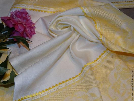 Текстиль, ковры ручной работы. Ярмарка Мастеров - ручная работа. Купить Полотенце льняное жаккардовое с каймой и вышивкой Элегант. Handmade.