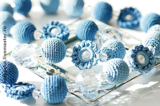 Слингобусы ручной работы. Ярмарка Мастеров - ручная работа. Купить Бусы/Слингобусы 'Романтика' (сине-голубые). Handmade. Бусы вязаные