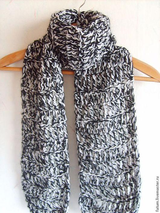 Шарфы и шарфики ручной работы. Ярмарка Мастеров - ручная работа. Купить Вязаный шарф Черно-белый шик. Handmade. Черный