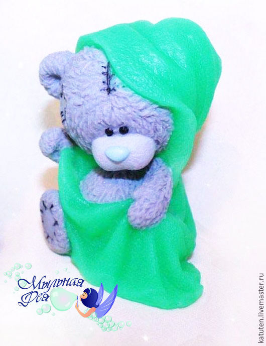 Мыло ручной работы. Ярмарка Мастеров - ручная работа. Купить Мыло Мишка Тедди в полотенце. Handmade. Ярко-зелёный, мыло