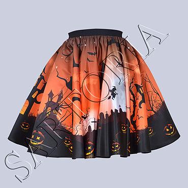 """Одежда ручной работы. Ярмарка Мастеров - ручная работа Юбка-солнце """"Хеллоуина ночь"""". Handmade."""