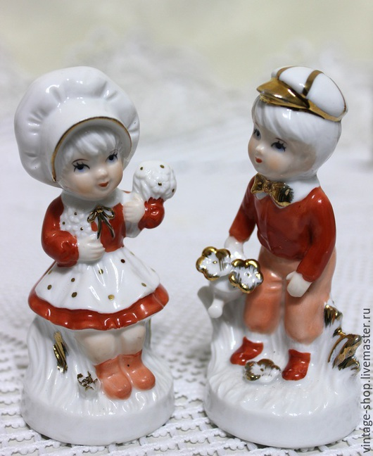 """Винтажные предметы интерьера. Ярмарка Мастеров - ручная работа. Купить Две фарфоровые статуэтки """"Дети"""", винтаж, Германия. Handmade. Рыжий"""