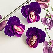 Украшения handmade. Livemaster - original item Bright purple earrings and ring, flower, polymer clay. Handmade.